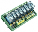 8 Channels Power Relay Module, 1 Contact Form C, with DIN-Rail Mounting Kit, board, 8x DO